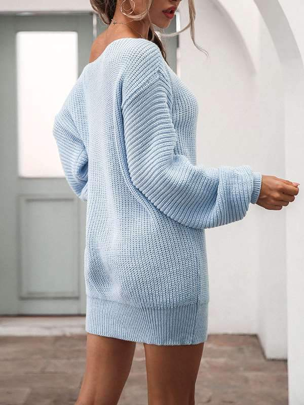Casual one off shoulder lantern sleeve knit long sweater dresses