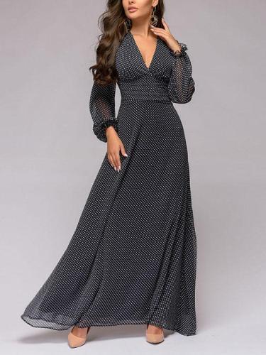 Polka dot print evening dress V collar sexy chiffon long sleeve vintage maxi dress