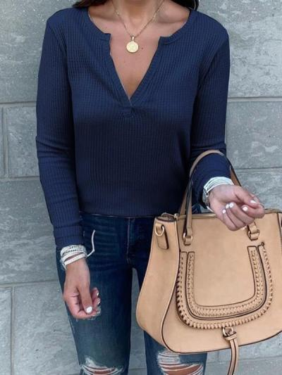 Women palin fashion casual vneck long sleeve T-shirts
