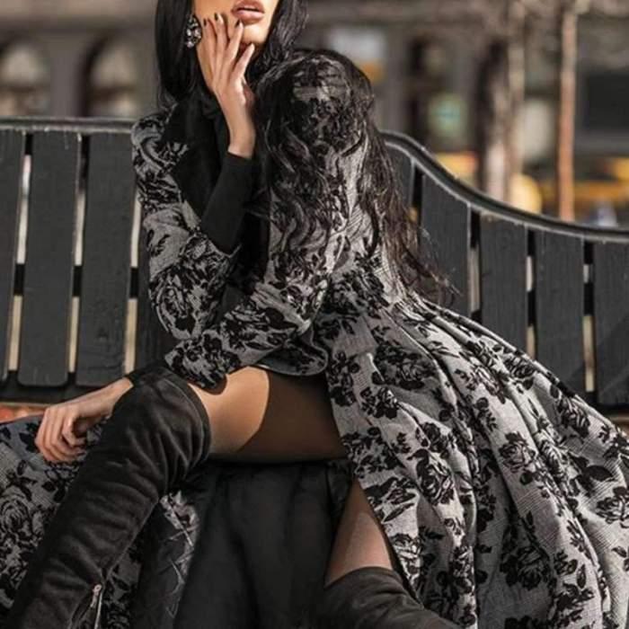 Fashion Print Lace Lapel Long sleeve Coat Maxi Dresses