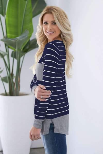 Fashion Stripe Round neck Long sleeve T-Shirts