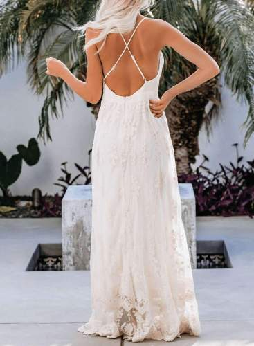 Sexy Lace V neck Vest Sleeveless Backless Skater Maxi Dresses
