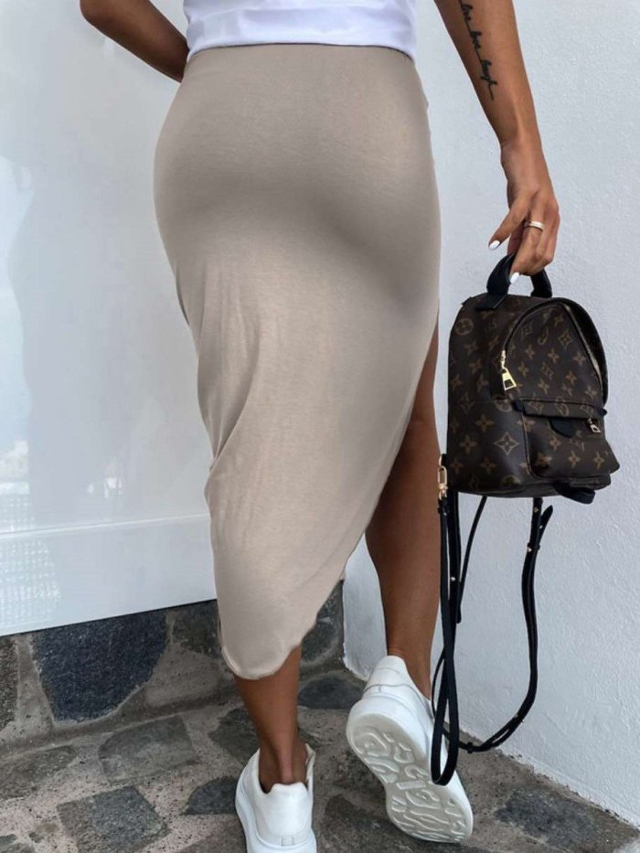 Fashion Sexy Pure Irregular Bodycon Skirts