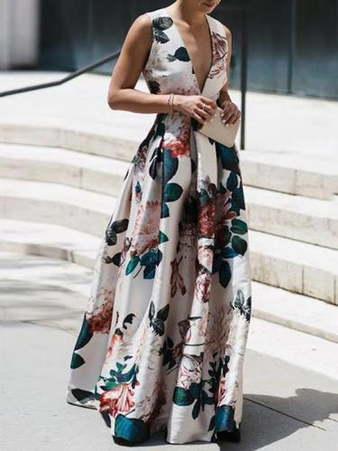 Sleeveless print v-neck elegant maxi dress