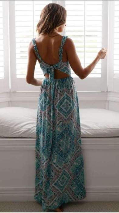 Sexy Print Backless Lacing Skater Dresses