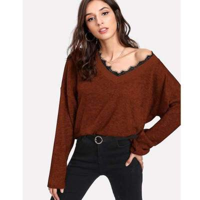 Fashion Casual Lace Gored V neck Long sleeve Sweaters