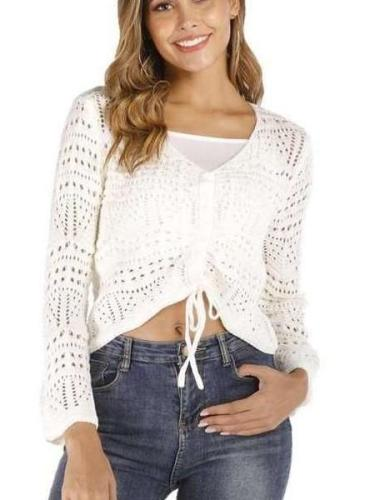 Fashion Sexy Pure V neck Long sleeve Hollow out Lacing Knit Sweaters