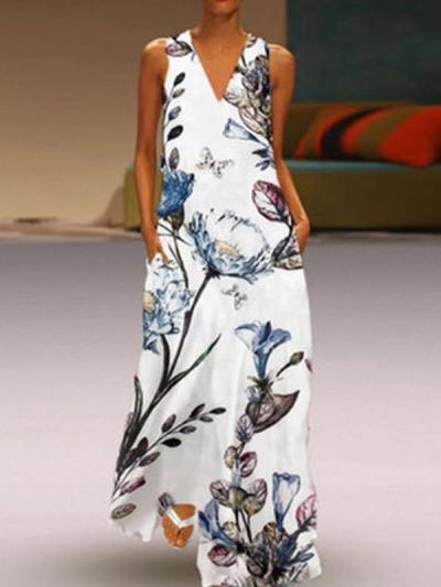 Printed deep v-neck sleeveless Maxi Dresses