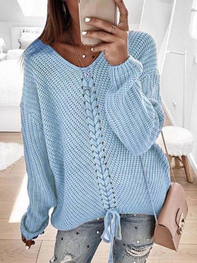 Women plain fashion v neck ong sleeve sweaters