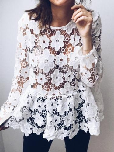 Sexy Hollow Out White Daily Falbala Blouses