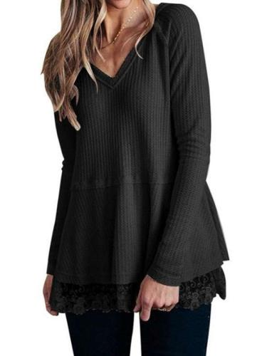 Fashion Lace V neck Long sleeve Knit Sweaters