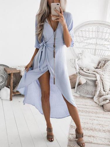 V neck Women Tie Waist Maxi Dresses