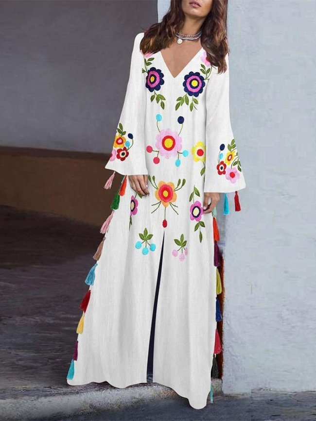 Casual Loose V neck Long sleeve Print Vent Macrame Maxi Dresses