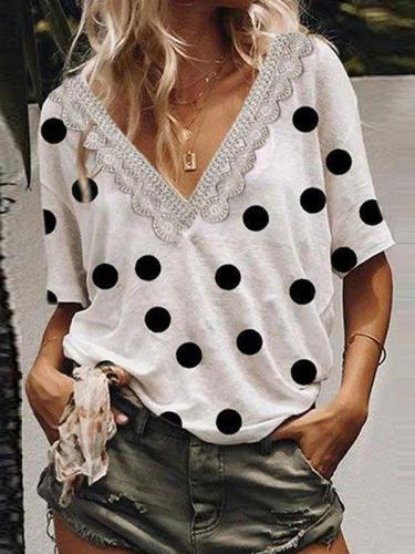 Polka dot lace patchwork v neck women fashion T-shirts