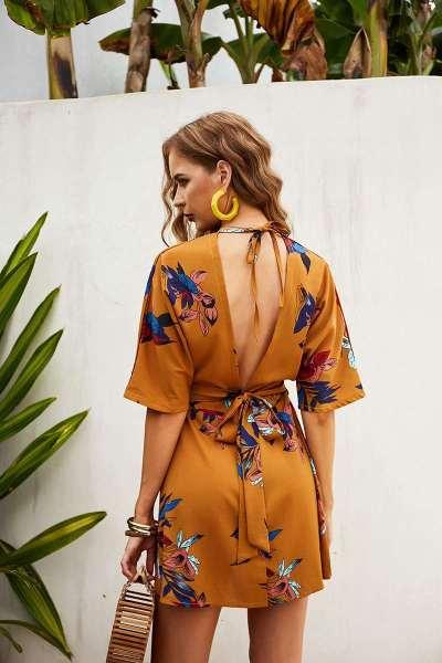 Fashion Print V neck Lacing Backless Skater Dresses