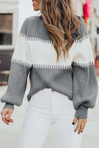 Fashion Stripe Knit High collar Long sleeve Sweaters