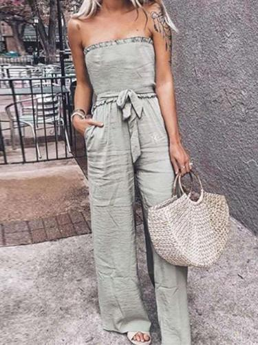 Casual Pure Lacing Jumpsuits
