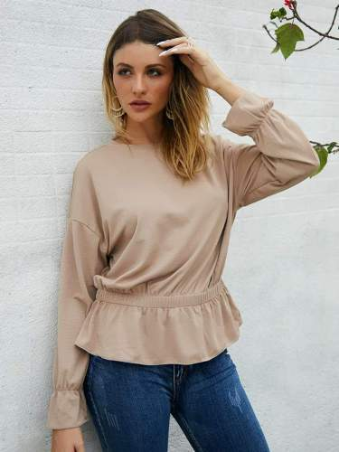 Fashion Pure Round neck Long sleeve Blouses
