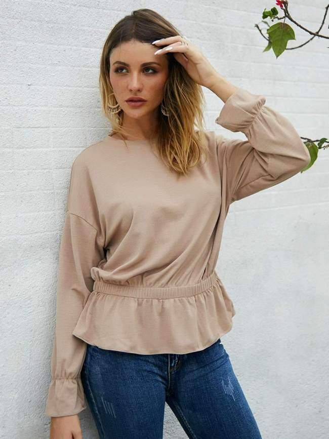 Fashion Pure Round neck Long sleeve Blouses