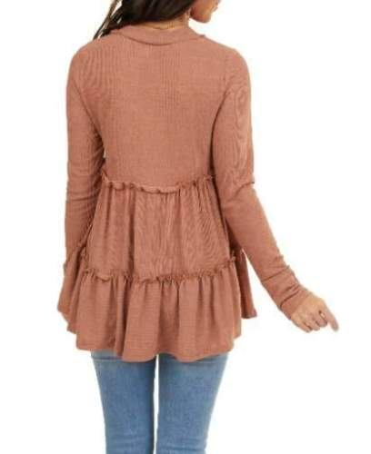 Fashion Casual Pure Gored V neck Long sleeve T-Shirts