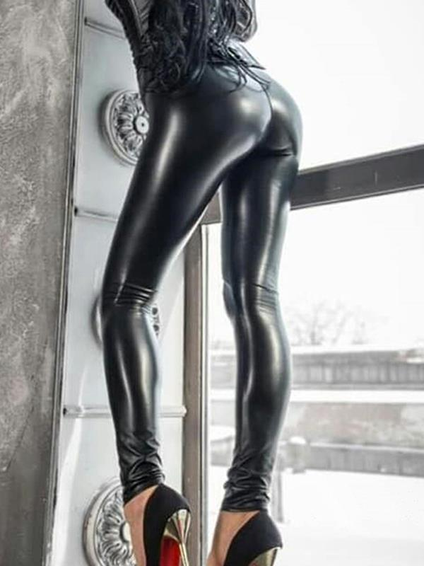 Women cool PU long pants