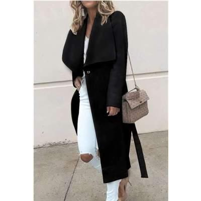 Fashion Pure Lapel Long sleeve Woman Trench Coats
