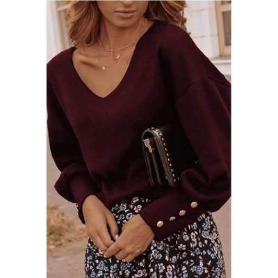 Fashion Casual Pure Fastener V neck Long sleeve T-Shirts