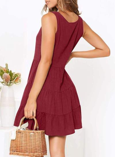Fashion Casual Pure V neck Fastener Gored Skater Dresses