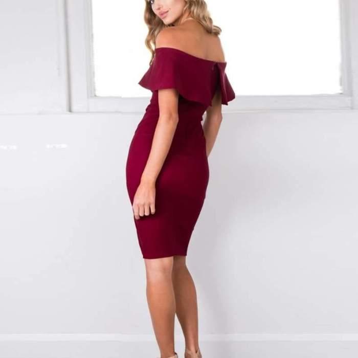 Sexy Off shoulder  Falbala Vent Bodycon Dresses