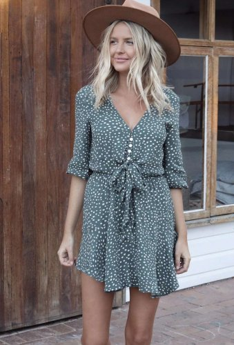 Point print V neck Three quarter sleeve Lacing Skater Dresses