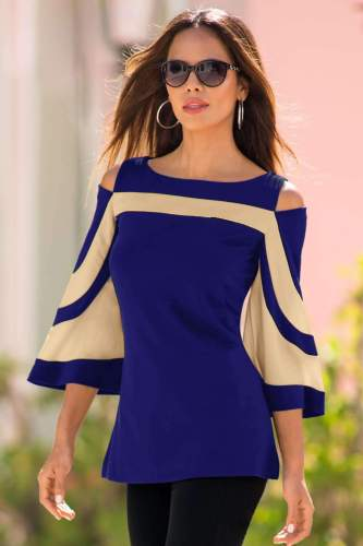 Off shoulder Gored Batwing sleeve T-Shirts