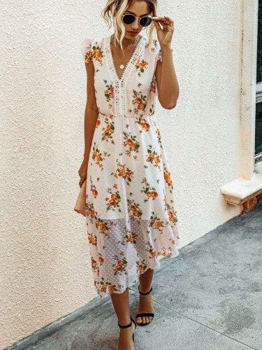 Fashion Print V neck Sleeveless Skater Maxi Dresses