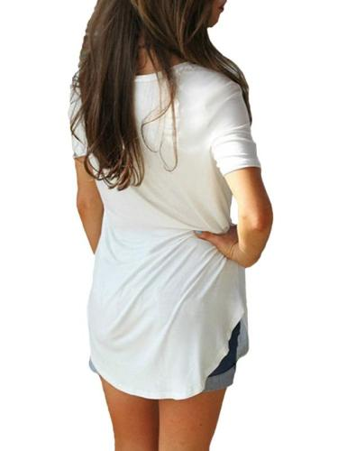 V Neck Short Sleeve Plain Loose Woman T-shirts