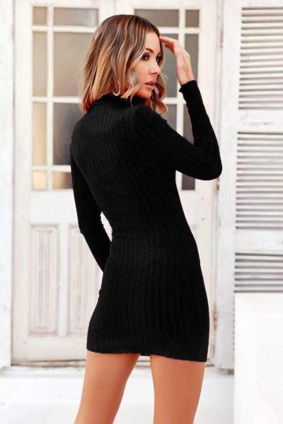 Fashion Knit High collar Long sleeve Bodycon Dresses