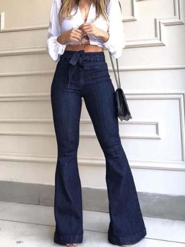 Fashion high waist women Bell-bottom wide-leg jeans long pants
