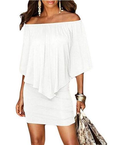 Sexy Off Shoulder Lotus Leaf Slim Fit Knitting Bodycon Dress