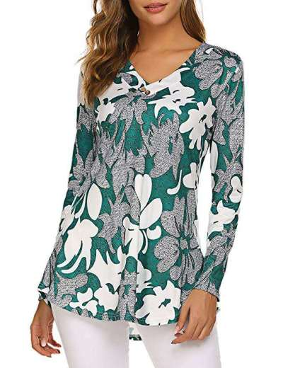 Fashion Loose Print V neck Long sleeve T-Shirts