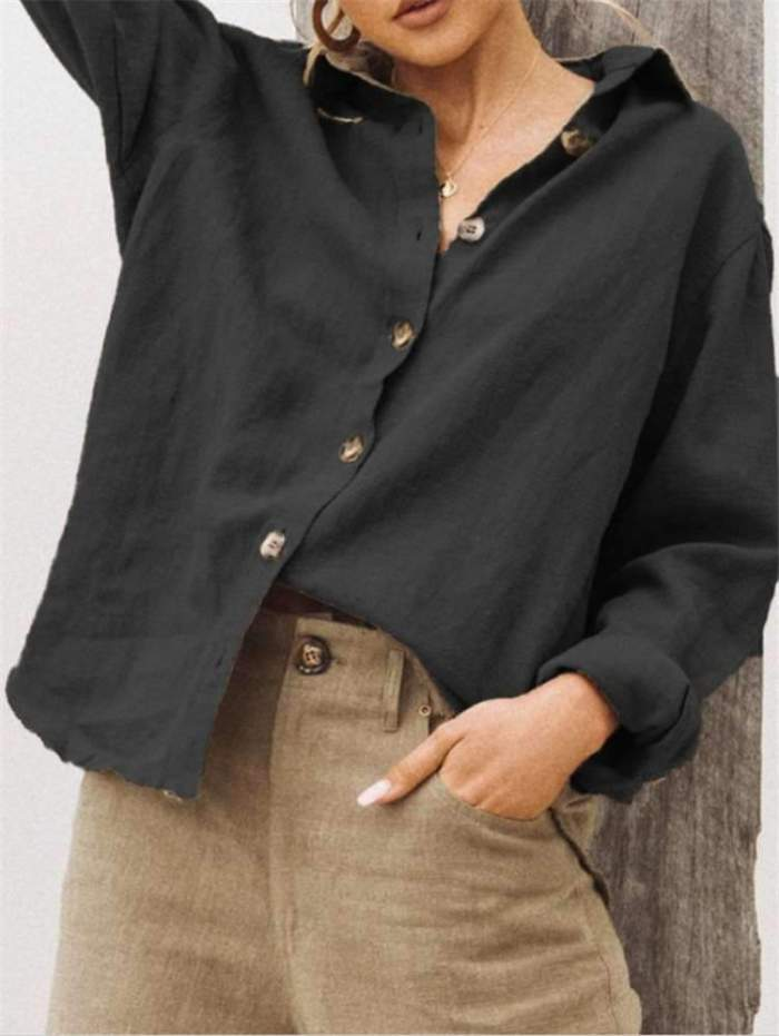 Fashion Lapel Long sleeve Blouses