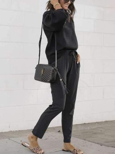 women's plain casual  drawstring long pants