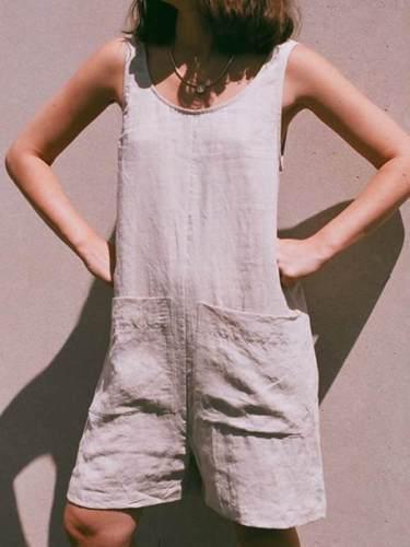 Plain women with pocket short  jumpsuits