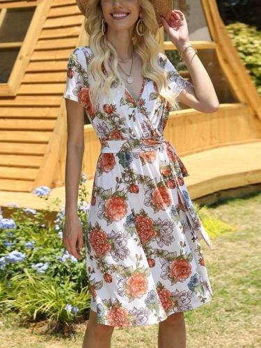 Fashion Print V neck Lacing Short sleeve Skater Dresses