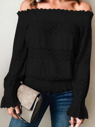 Fashion Lace Off shoulder Long sleeve T-Shirts