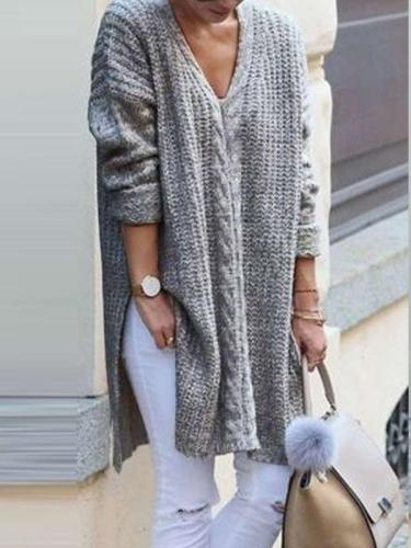 Fashion Knit V neck Long sleeve Vent Sweaters