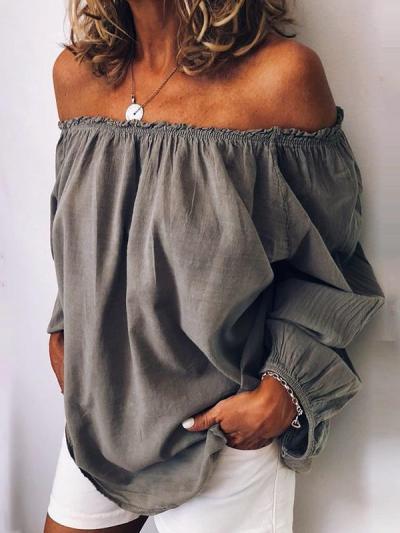 Women casual off shoulder long sleeve blouses