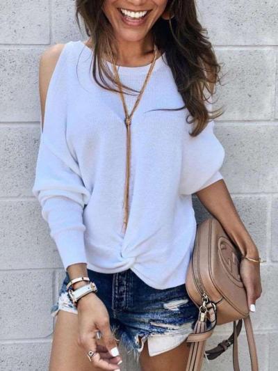 Loose Pure Off shoulder Snarl Knit T-Shirts