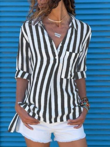 Lapel Pocket Striped Long Sleeve plus size Blouses