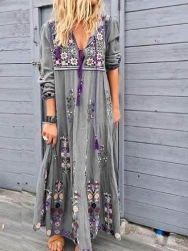 Fashion Print V neck Long sleeve Lacing Maxi Dresses