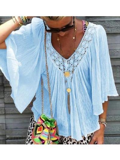 Women V neck Half Sleeve Summer T-shirts