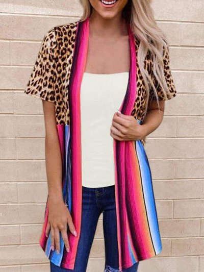 Fashion Print Gored Short sleeve Cardigan