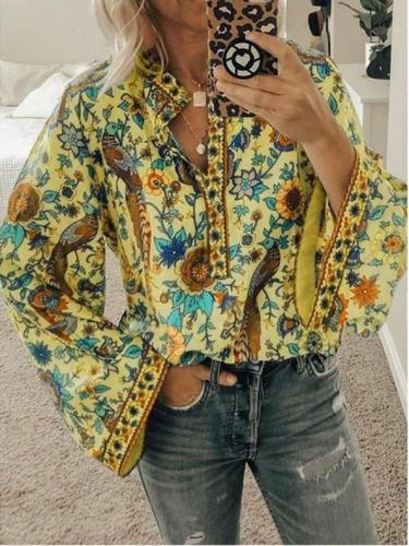Loose Print Long sleeve Blouses